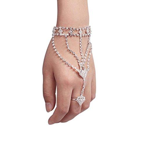 VJGOAL Damen Armband, Mode Frauen Mädchen Strass Hand Armreif Kette Link Finger Ring Armband Frau (Silber)