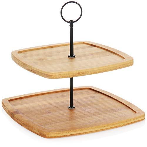 COM-FOUR supporto per torta in bambù - supporto per torta con 2 livelli - supporto per dolci, cioccolatini, formaggio o frutta (1 pezzo - bambù - quadrato)