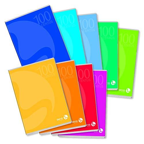 BM BeMore Centus, 0109288 zeszyt A4, liniatura 10F, w kratkę 1 cm z krawędzią, papier 100 g/m², posortowane pod względem koloru, opakowanie 12 sztuk
