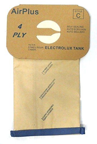 8 (Eight) Bags for Electrolux Canister Vacuum Style C - 4 Ply Bags with Rubber Seal