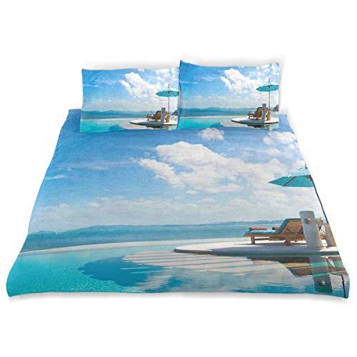 Juego de Funda nórdica Silla de Playa con sombrilla en Piscina privada Vista al mar Juego de Cama Decorativo de Vacaciones de 3 Piezas con 2 Fundas de Almohada Cuidado fácil Antialérgico Suave Suave