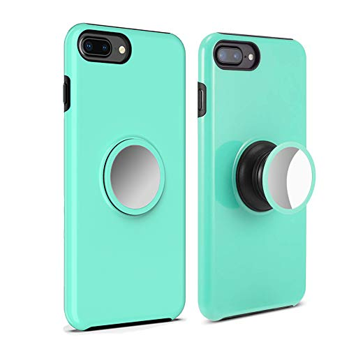 iPhone 8 Plus Case,7 Plus Case,6s Plus Case,6 Plus Case UPHIDO Tough Heavy Shock Dual Layers Protective Expanding Phone Pop Handle Stand and Grip Built-in Iron for Magnetic Mount Rugged Duty (Mint)