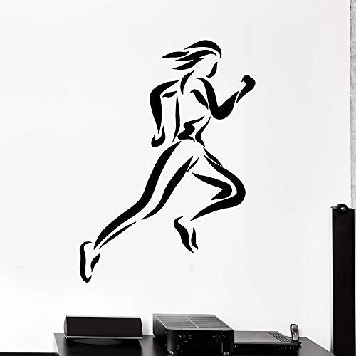 HGFDHG Running Girl Tatuajes de Pared Deportes Fitness Culturismo Vinilo Etiqueta de la Ventana Gimnasio Chica Dormitorio decoración Interior Silueta Mural