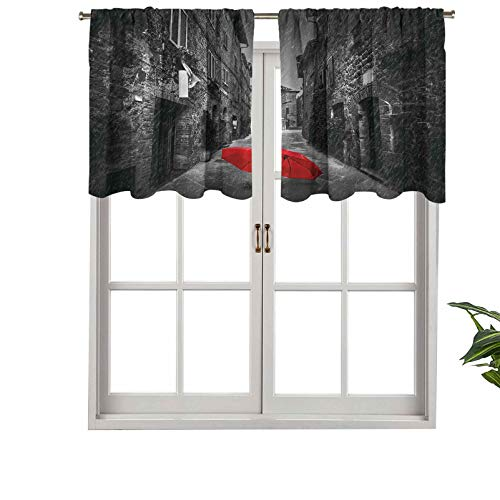 Hiiiman Sunshine Blockout Valance Curtain Red Umbrella on a Dark Narrow Street in Tuscany, Set of 2, 42'x24' for Indoor Living Dining Room