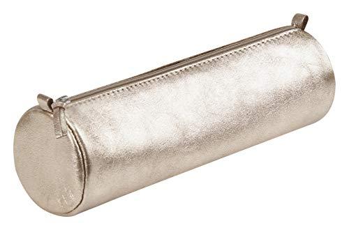 Clairefontaine 8710C Schlampermäppchen rund (mit Perlmutt-Effekt, Durchmesser 5,5x22 cm) 1 Stück grau