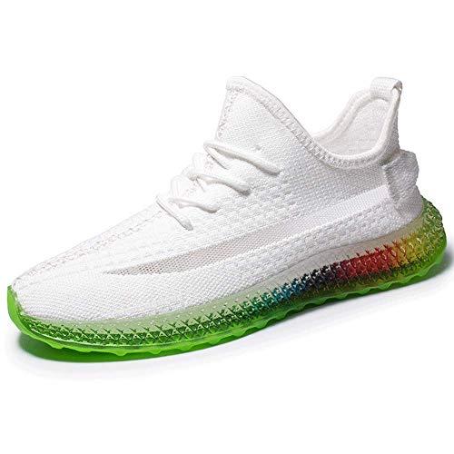 AXDNH Zapatillas de Malla de Hombre, Deportes al Aire Libre versátiles Zapatos de Malla absorción de Golpes Ligeras Suelas de Arco Iris Calzado de Estudiante Calzado Deportivo,White,44