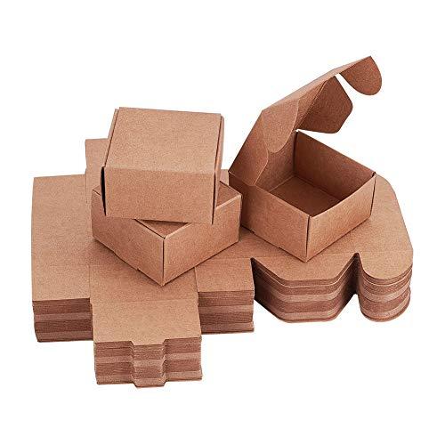 PandaHall 60pcs Piccola Scatola di Carta Kraft 6.2x3.5 cm Scatola di Gioielli cubo Scatola di Cartone Regalo con coperchi per Regali Wrapping Crafting