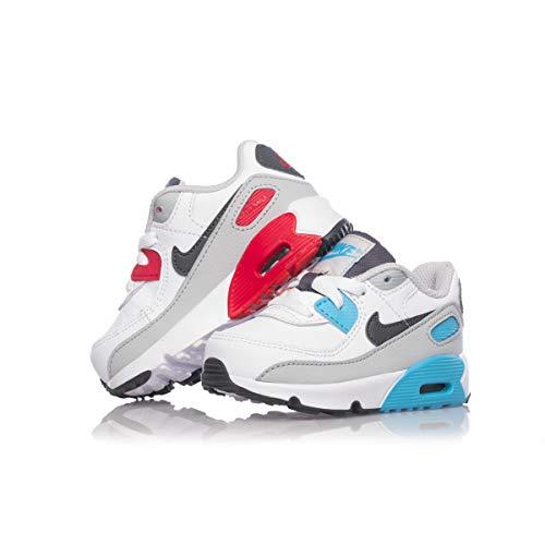 Nike Air Max 90 Leather Toddler CD6868-108 White Iron Grey Scarpa Bimbo Bimba (26 - White)