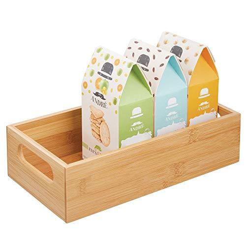 mDesign Aufbewahrungsbox mit Griffen – praktische Holzbox zur Lebensmittelaufbewahrung – für Gewürze, Nüsse oder Flaschen – offene Ablage aus Bambusholz für die Küche – bambusfarben