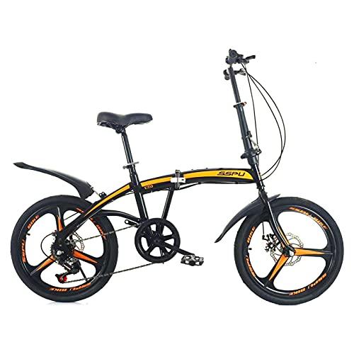 Fahrrad Mit Variabler Geschwindigkeit FüR Erwachsene, 20-Zoll-Faltrad FüR Erwachsene, Scheibenbremse, Kohlenstoffstahl, Geeignet FüR Das Fahren Im Freien (DREI Messer schwarz orange)
