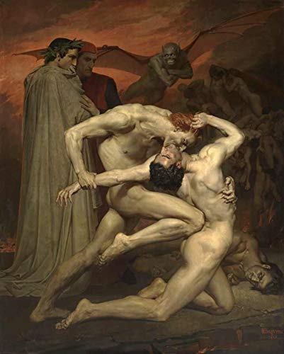 Dante e Virgílio no Inferno de William Bouguereau - 60x74 - Tela Canvas Para Quadro