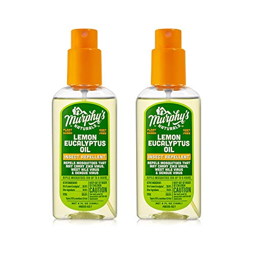 Murphy's Naturals Lemon Eucalyptus Oil Insect Repellent Spray | DEET Free | Plant Based, All Natural Ingredients | Mosquito Repellent | 4 Ounce Pump Spray | 2 Pack