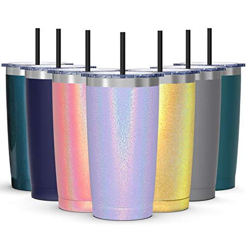 Bastwe Thermobecher mit Deckel, 600 ml, vakuumisoliert, doppelwandiger Reisebecher, Kaffeebecher mit spritzwassergeschütztem Schiebedeckel und Strohhalm (Lavendel-Glitzer)