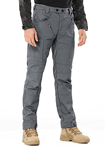 Men's Tactical Pants,Ripstop Cargo Work Pants Lightweight EDC Outdoor Hiking Pants with Multi 10 Pocket Size 36 Gray
