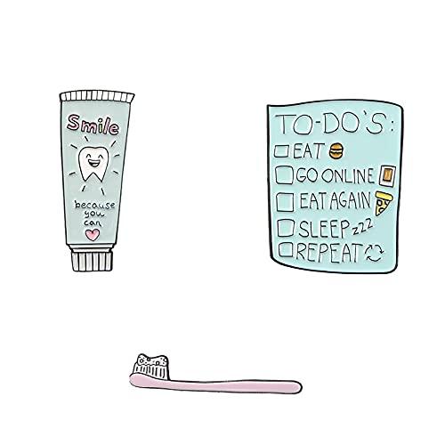 À faire liste brosse à dents dentifrice sourire dents broches calendrier manger Pizza Burger sommeil Badge émail broche épinglettes cadeaux sucrés