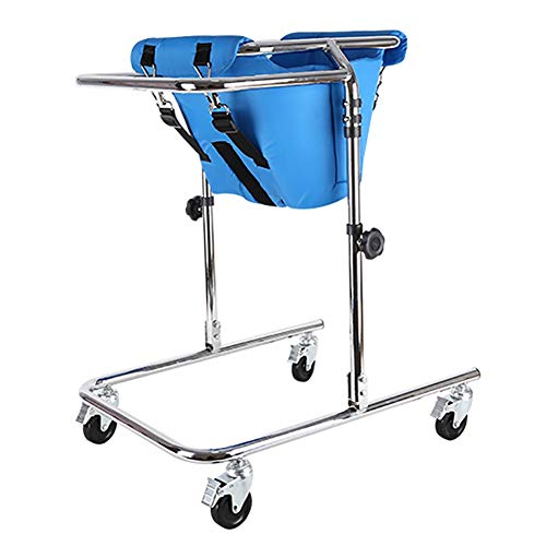Portable Stand Upright Walker for Kids Cerebral Palsy Disability Rehabilitation Training, Foldable Toddlers Walker with Wheels and Seat (Color : Blue, Size : Medium)