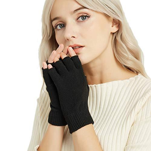Novawo Los guantes flexibles de mix-lana y cachemira calientes suaves para mujeres y hombres
