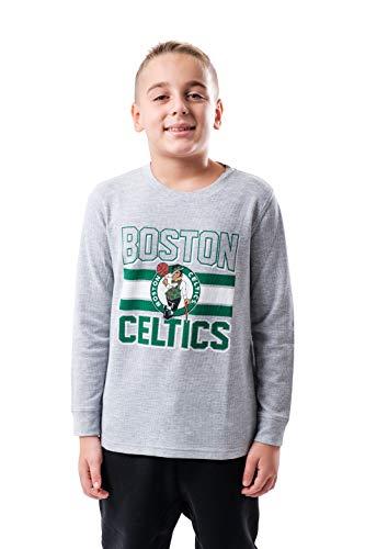 NBA Boston Celtics Boy's Active Thermal Long Sleeve Shirt, Heather Gray, 10/12