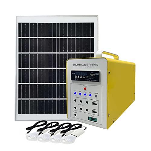 YYWER Generador Solar de estación de energía portátil con Panel Solar de 30 W, linternas, lámparas de Campamento con batería, Salidas USB DC Yellow