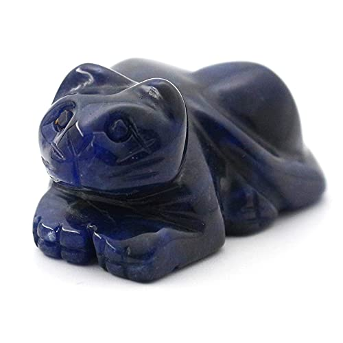 1.5 inches Hand Carved Healing Crystals Natural Gemstones Cat Quartz Figurine Collectible Statue Decoration(Sodalite)