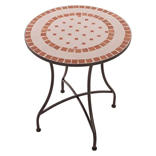 MACOShopde by MACO Möbel Mosaik Gartentisch Mosaiktisch Ana rund ø 60 Balkon/Terrassen-Tisch mit einzigartigem Muster Mehrfarbig Stahl