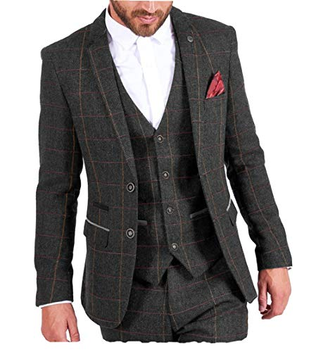 MoranX Casual Herren Anzüge 3 Teilig Wolle Kariert Fischgrätenmuster Tweed Smoking Business Jacke Blazer Weste Hose Hochzeitsanzug(Schwarz,98)