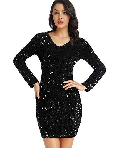 LLmansha Women's Sparkle Glitzy Glam Sequin V Neck Long Sleeve Flapper Party Club Dress