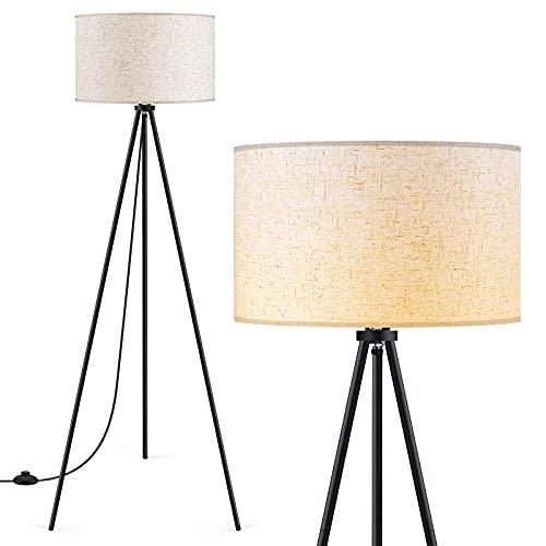Floor Lamp for Living Room, Tripod Floor Lamp, 15W LED Bulb, 3 Levels Dimmable Brightness, Linen...