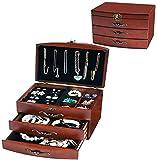 Cajas de joyería Fábrica de joyería de madera grande, Mujeres Vintage Stud Pendientes Joyero Caja de joyería Organizador Regalo, tres capas de dos cajones móviles de vestidor