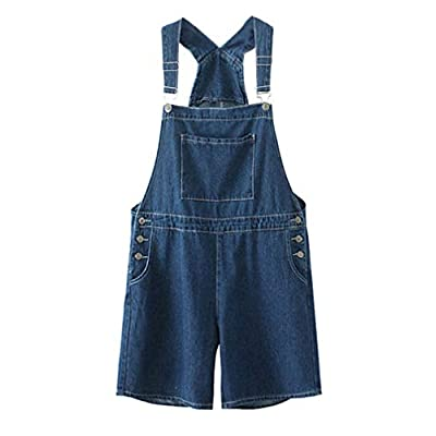 Women's Loose Fit Adjustable Denim Short Overalls
