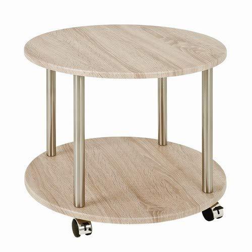 Haku Möbel 33089 Table pour Desserte Tube d'Acier Optique Inox/Chêne H 45 cm x Ø 45cm