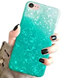 J.west iPhone SE 2020 Case, iPhone 8 Case, iPhone 7 Case, Cute Phone Case Girls Women Glitter Design Sparkle Translucent Clear Bumper TPU Shell Soft Silicone Back Cover Case for iPhone 7/8 Light Teal