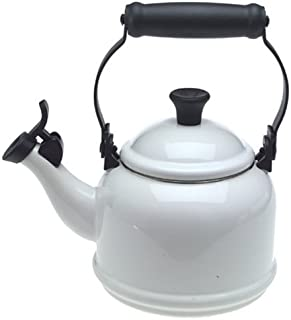 Le Creuset Q9401-16 Enamel-on-Steel Demi 1-1/4-Quart Teakettle, White, 1.25 Qt
