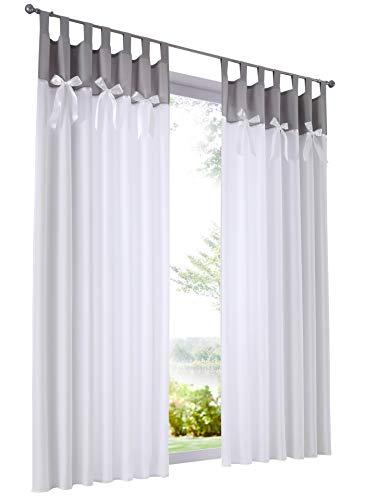 Home U 1 Pièce Rideau Semi-Opaque en Microfibre avec Décoration Noeud à Deux Boucles Décoration de Fenêtre (LxH 140x225cm, Gris/Blanc)