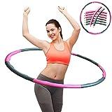 [page_title]-ZOORE Einstellbar Hula Hoop, Fitness Reifen Abschnitten Sport Hula Hoop Reifen Gymnastikreifen für Fitness und Abnehmen (4 Knoten Pink + Grau)