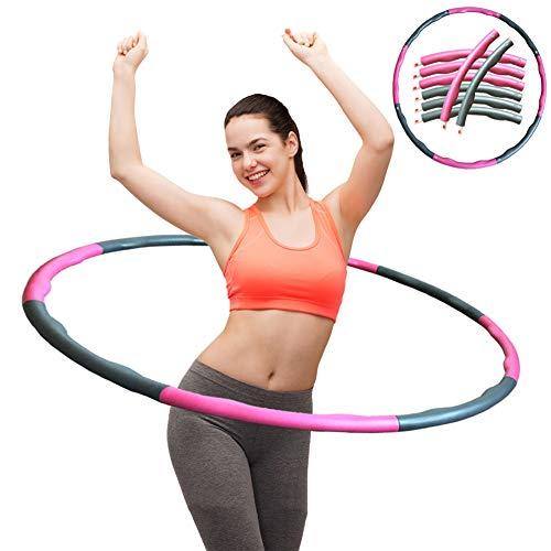 ZOORE Einstellbar Hula Hoop, Fitness Reifen Abschnitten Sport Hula Hoop Reifen Gymnastikreifen für Fitness und Abnehmen (4 Knoten Pink + Grau)