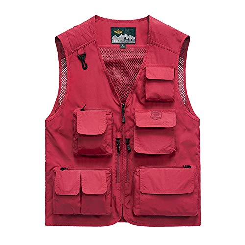 Men's Multi-Pocket Spring and Autumn Volunteers Waistcoats Outdoor Photography Fishing Loose Thin Men's Vest Red-3XL