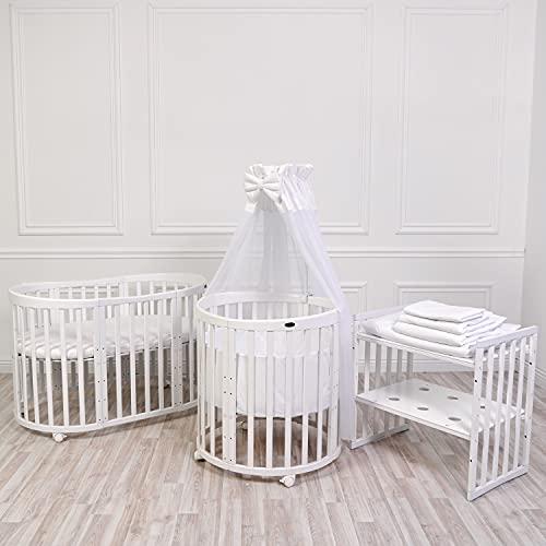 ComfortBaby® SmartGrow 7 in 1 White Ensemble complet 12 pièces blanc, ensemble lit bébé, parc, lit d''appoint, ensemble literie, matelas, table à langer, chaises et table pour enfants'
