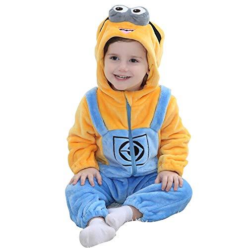 Enfant Combinaison Bébé Grenouillère avec Capuche Unisexe Pyjama Barboteuses Salopette Rompers One Piece (Yellow, 100cm)