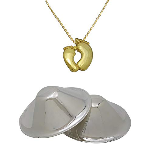 OFLIUM 999 Pure Silver Nursing Cups for Breastfeeding Mothers with Baby Foot Necklace Gift. Breast Shield, Cracked Sore Nipple Guard Protector Soother Pads 1 Size fit All Nipple 2 inche