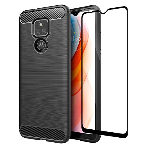 GSDCB Case for Motorola Moto G Play 2021 Case, with Tempered Glass Screen Protector, Ultra Thin Shockproof Phone Protective Case with Carbon Fiber Brushed Texture Soft TPU Slim Fit Cover (Black)