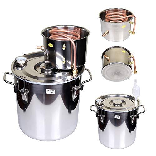 Goetland 5 Gallons Moonshine Still Spirits Kit Water Alcohol Distiller Home Brew Wine Making Kit Oil Boiler Copper Tube Stainless Steel