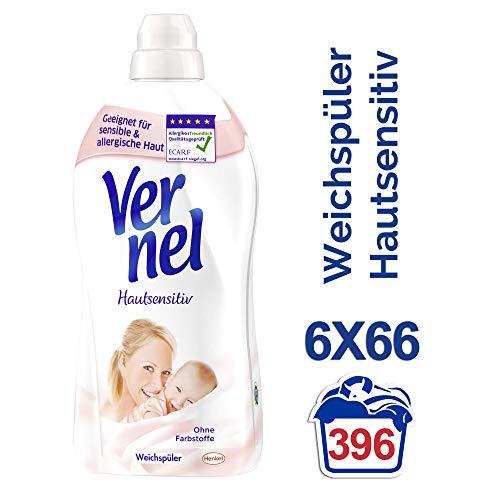 Vernel Hautsensitiv, Weichspüler für Allergiker, 396 (6 x 66) Waschladungen, mit mildem Duft