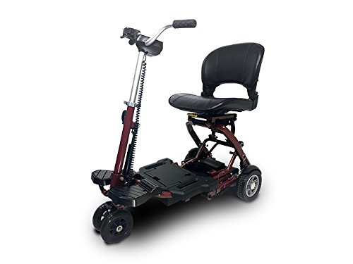 MiniRider Folding is a Compact Mobility Scooter Indoor Outdoor Use Easy Pull Throttle Key Ignition and Battery Gauge Red