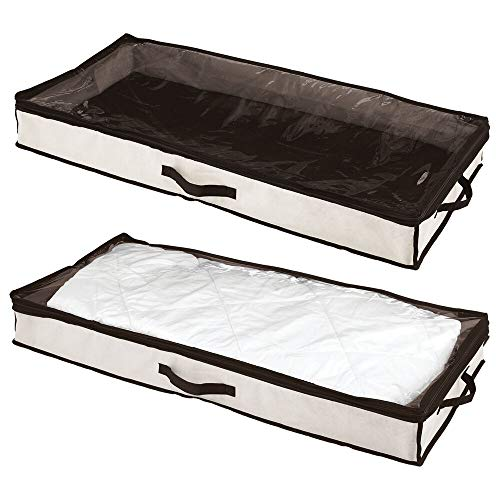 mDesign rangement sous lit (lot de 2) – boite de rangement avec couvercle transparent pour vêtements, literie, chaussures – tiroir sous lit à l'abris de la poussière – couleur crème/marron foncé