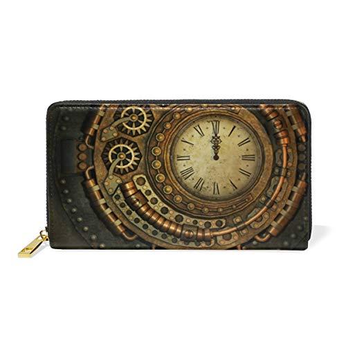 Oro Reloj Antiguo Arte Monedero Cremallera Billetera de Cuero Real Patrón Impresión Bolso para Niño Mujeres Teléfono Chica Hombre