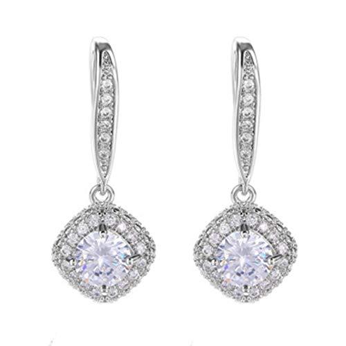 P12cheng Pendientes de gota de diamantes de imitación brillantes para mujer, estilo coreano, regalo para ella, ideal para fiestas de invierno, otoño, banquetes, fiestas, clubes, color blanco