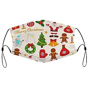 Decorazioni natalizie, maschere di stoffa, lavabili per viso, riutilizzabili, traspiranti, regolabili, per aldults uomini e donne, 5 pezzi