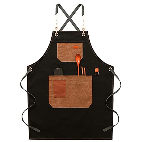 Delantal de trabajo de utilidad con bolsillos para café, leche, té, tienda, chef, camareros, babero, chef, parrilla, barbacoa, delantales, overoles para hombres, mujeres, taller, herramienta