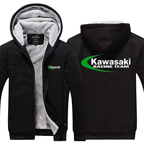 LAIDAN Männer Kapuzenpullover Zipjacke Sweater-Jacke Mit Kawasaki Racing Team Logo Drucken Beiläufige, Warm-Sweatshirt Pullover Beiläufiges Mit Kapuze Langärmliges Hoody Tops,B,L